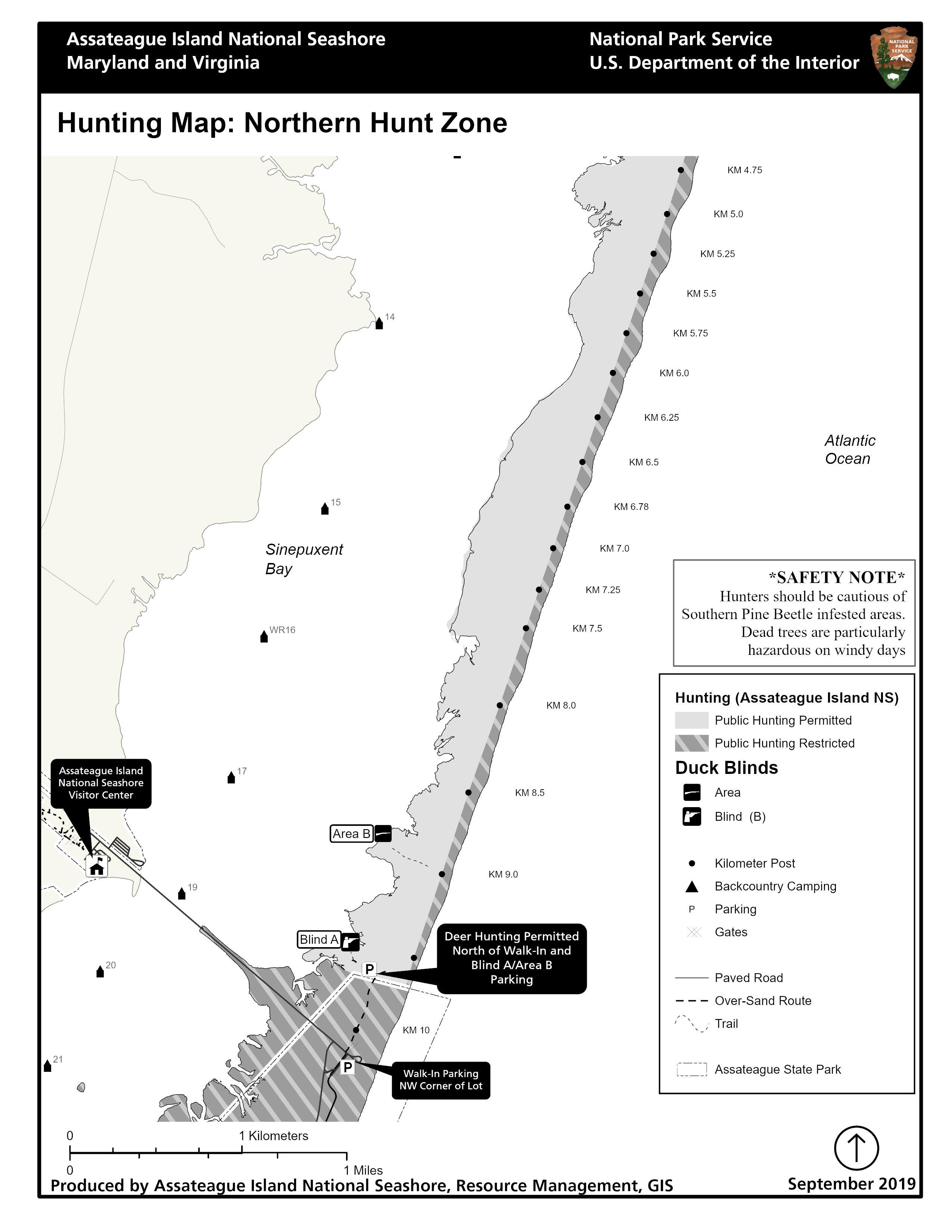 Maryland Public Hunting Land Map : maryland, public, hunting, Hunting, Zones, Assateague, Island, National, Seashore, (U.S., Service)
