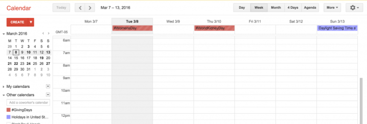 Display of a public Google calendar