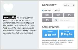 Screenshot: Mozilla Donation page Desktop
