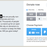 Screenshot: Mozilla Donation page Desktop