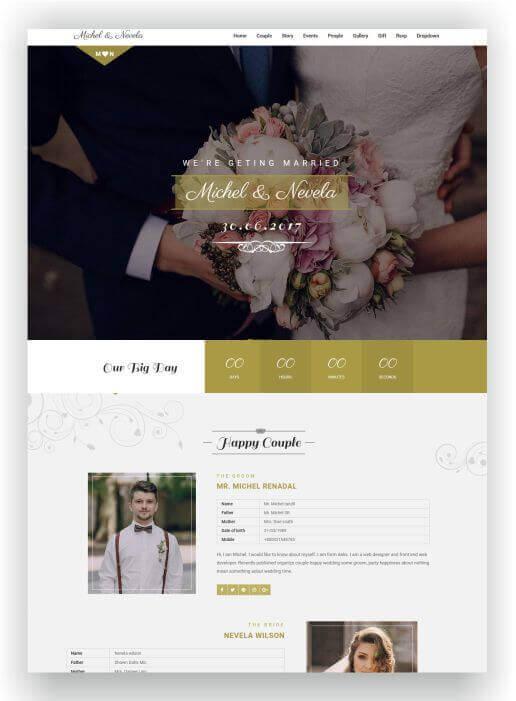 HTML Hochzeits Webseite Sweetheard  Hier um nur 16