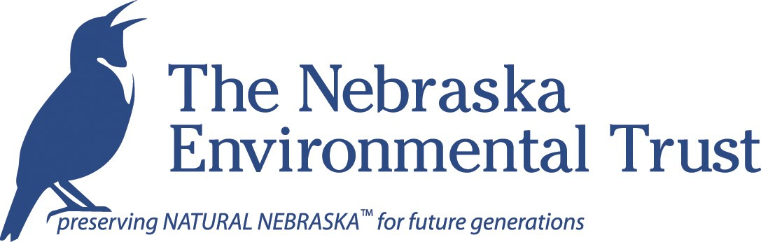 blue and white Nebraska Environmental Trust seal with a bird in the middle of the circle