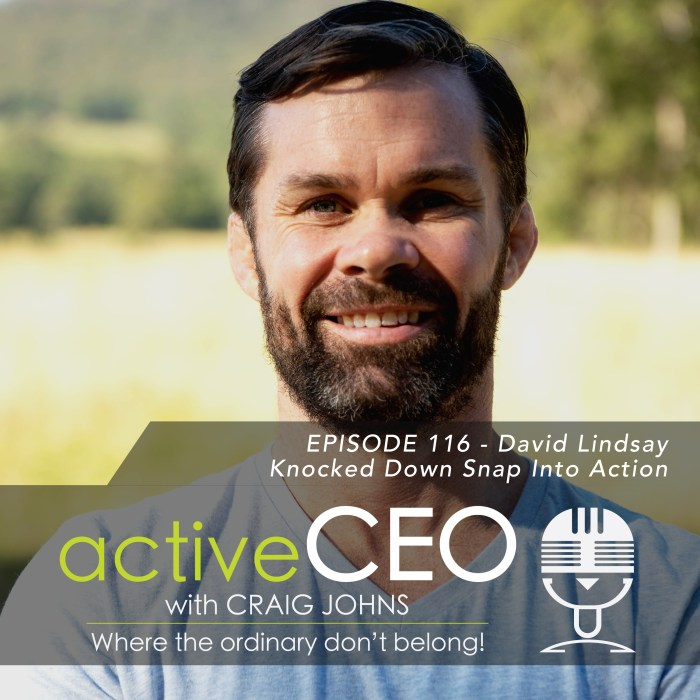 active CEO Podcast #116 David Lindsay Knocked Down Snap Into Action