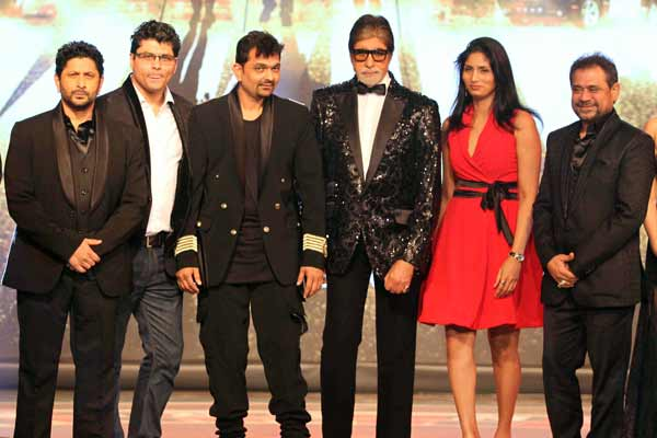 Riyaz and reshma Gangji of Libas designed special tuxedos for Amitabh Bachchan, Arshad Warsi and Meet Brothers at mahurat of Anees Bazmi film Aankhen 2