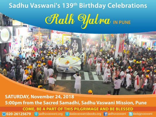 Pune's annual Rath Yatra is being held on Saturday, November 24, 2018 at 5pm