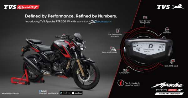 TVS Motor Company launches Bluetooth-enabled TVS Apache RTR 200 4V with SmartXonnect* technology
