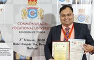 Dr. Souvik Banerjee conferred with Indo-Global Research Excellence Award 2020