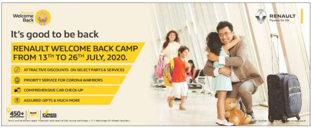 RENAULT INDIA ORGANISES 'WELCOME BACK' SERVICE CAMP