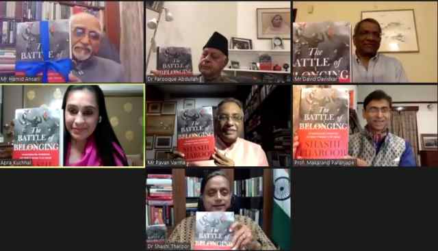 "Kitab launches Shashi Tharoor's book ""The Battle of Belonging""; literary bigwigs, politicians attend online"