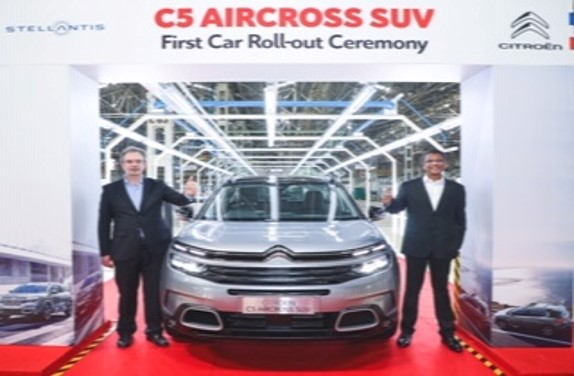NEW CITROEN C5 AIRCROSS SUV ROLLS OUT FROM THIRUVALLUR PLANT