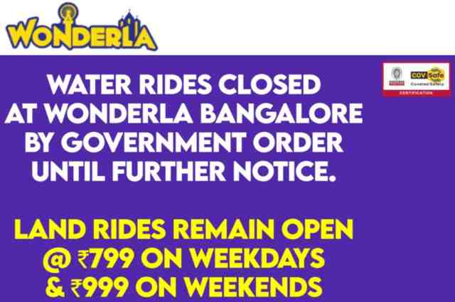 Wonderla Bangalore Announces Closing of Water Rides from 7th April, as per Government Order