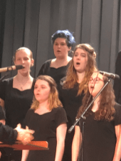 The Burrillville High School choir performs at the music department's show last May. From left are Samantha Benjamin, Amber Barry, Kayley Wheeler, Jade Lewin, Skylark Paquette