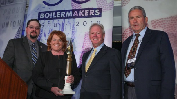 Heitkamp awarded by Boilermakers union bosses