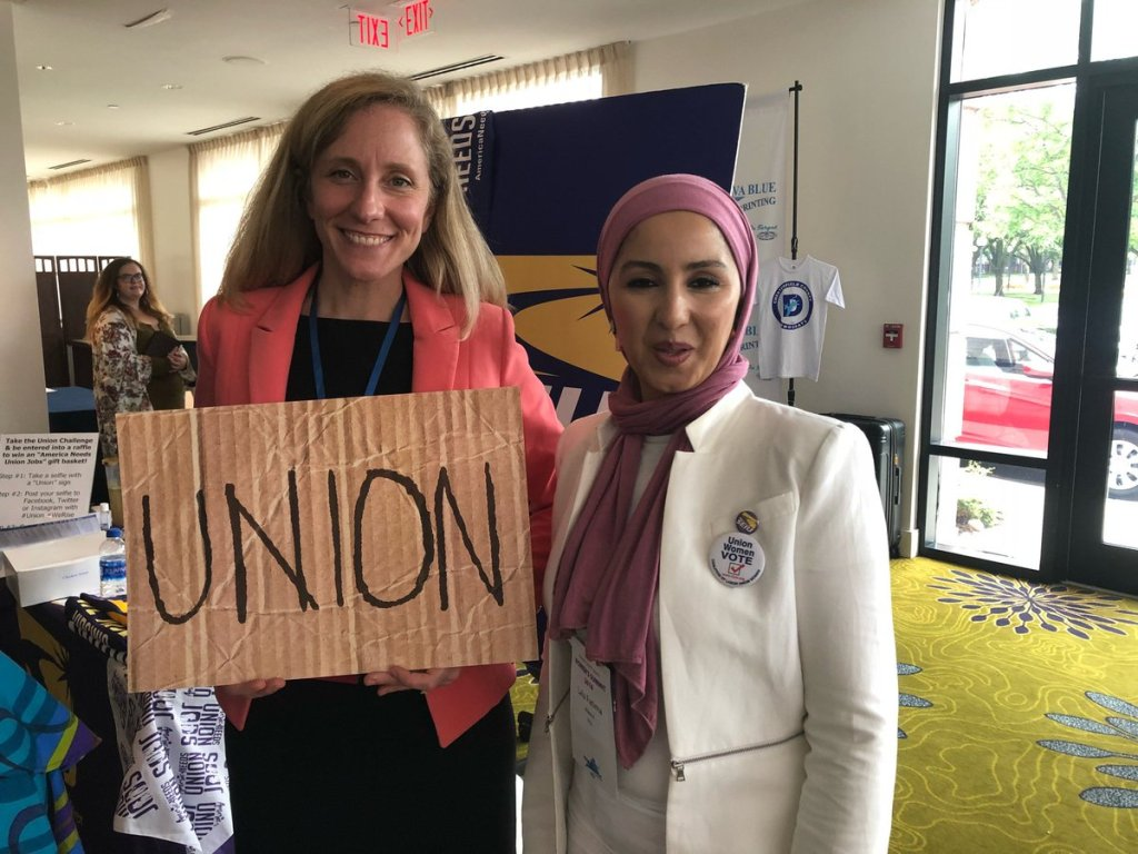A rising share of politicians representing Virginia constituencies, such as freshman U.S. Rep. Abigail Spanberger (D, left), are so dependent on the Big Labor machine to stay in power that they are openly backing forced unionism.