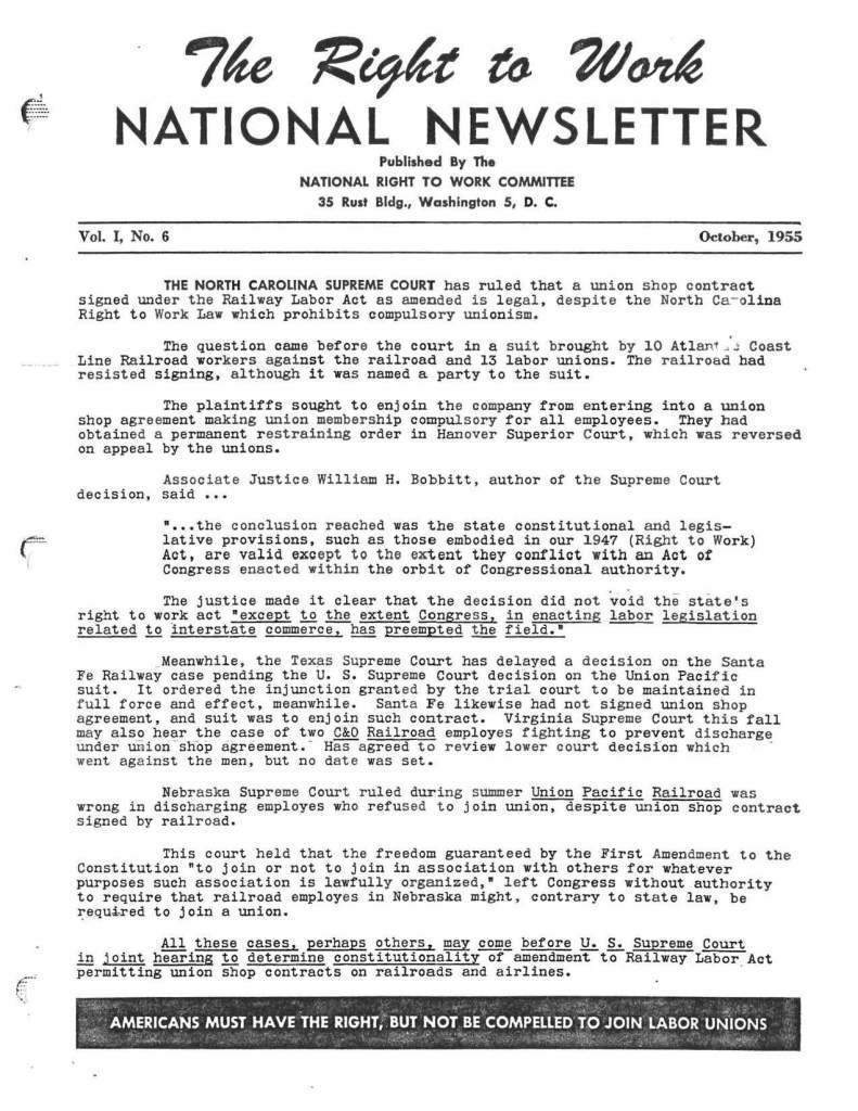 October 1955 National Right to Work Newsletter
