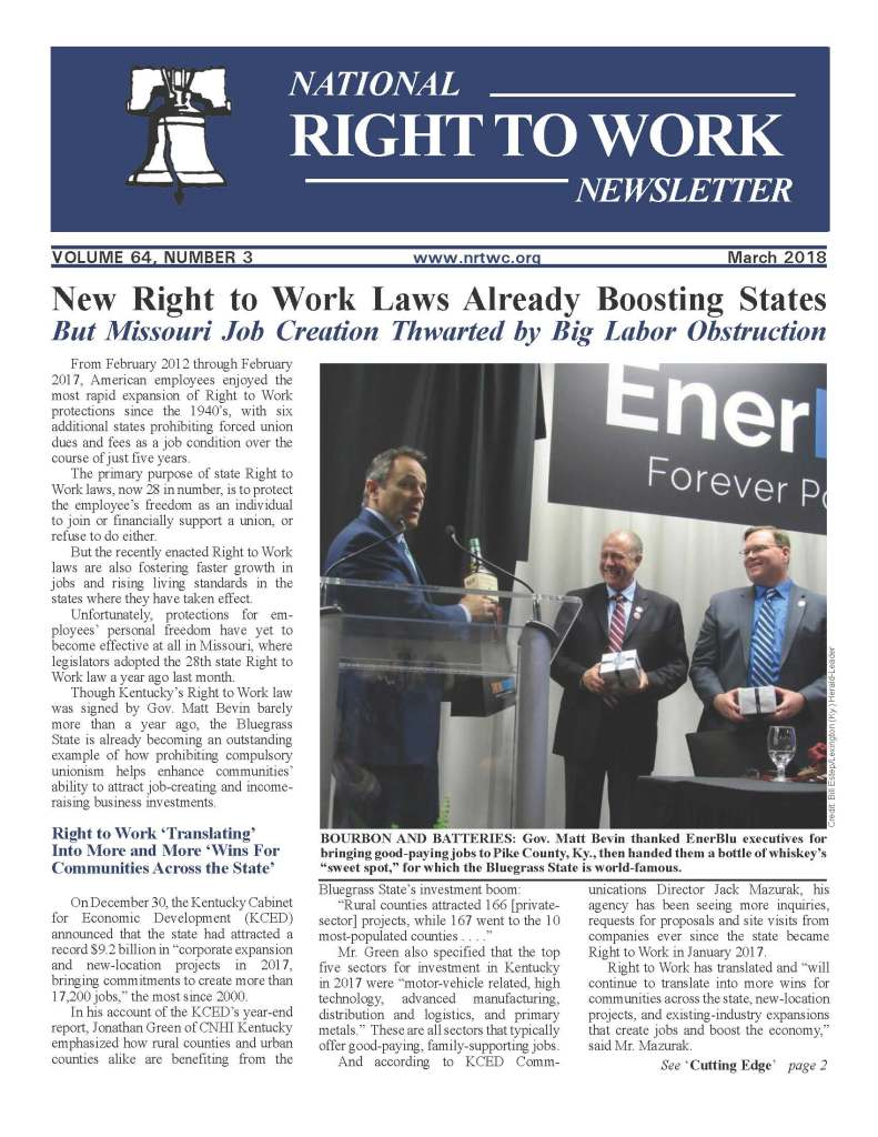 March 2018 National Right to Work Newsletter
