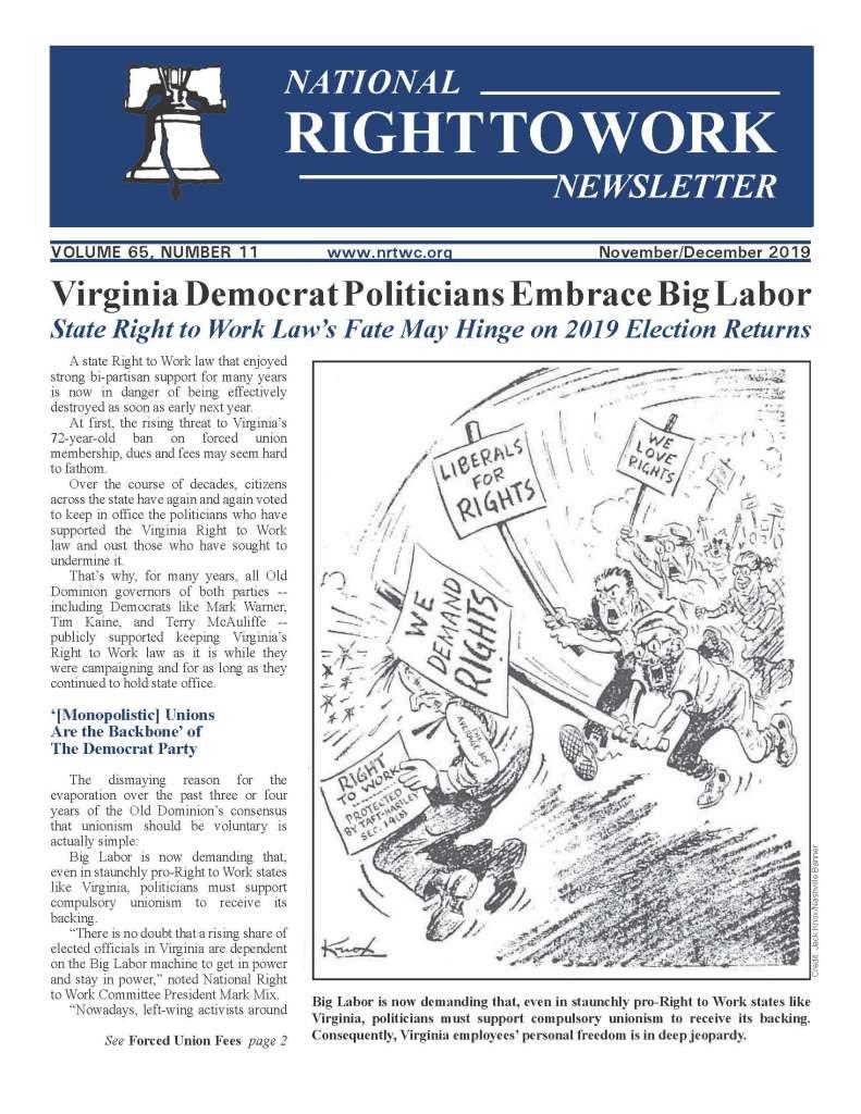 November/December 2019 National Right to Work Newsletter