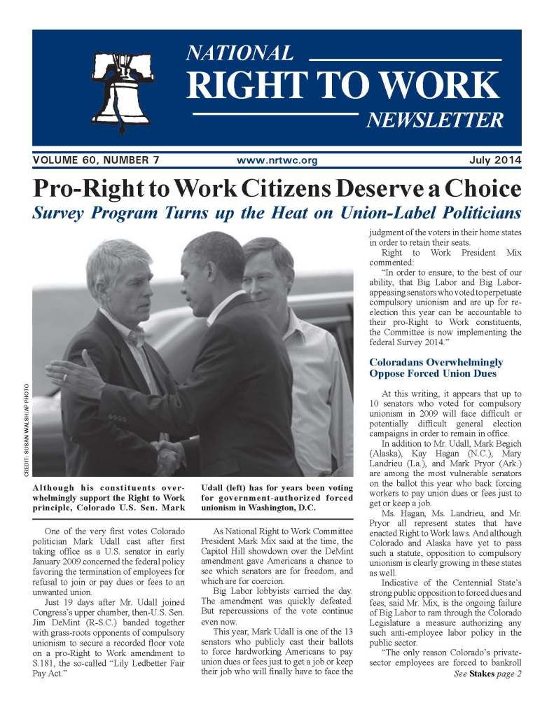 July 2014 National Right to Work Newsletter