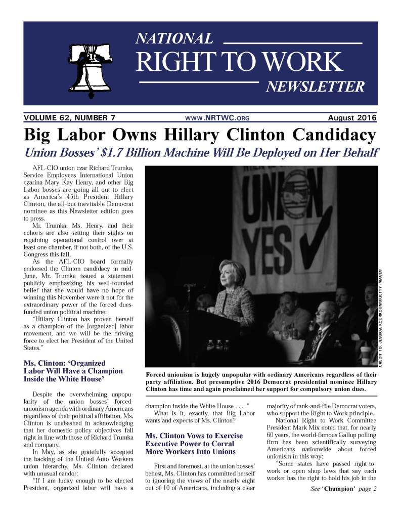 August 2016 National Right to Work Newsletter