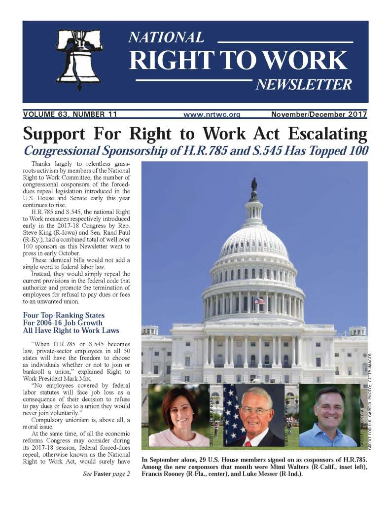 November/December 2017 National Right to Work Newsletter