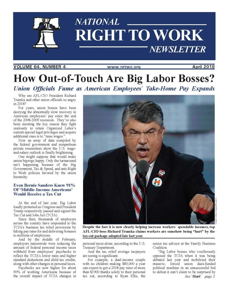 April 2018 national Right to Work Newsletter