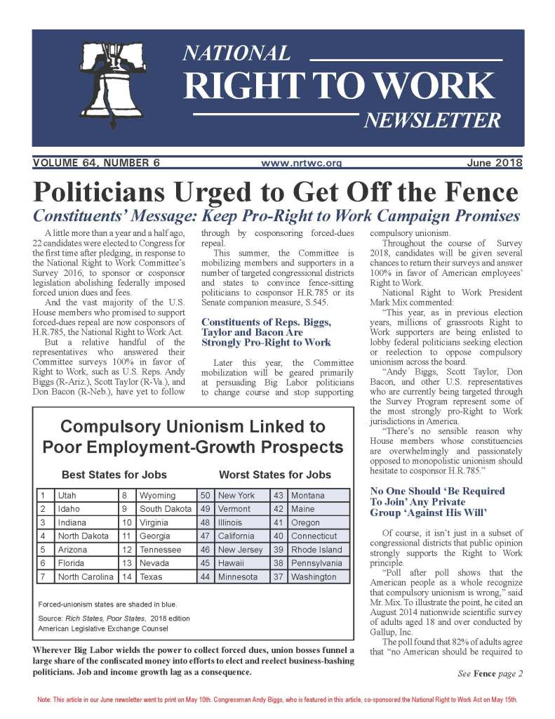 June 2018 National Right to Work Newsletter