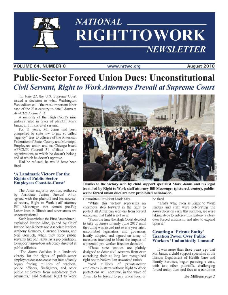 August 2018 National Right to Work Newsletter