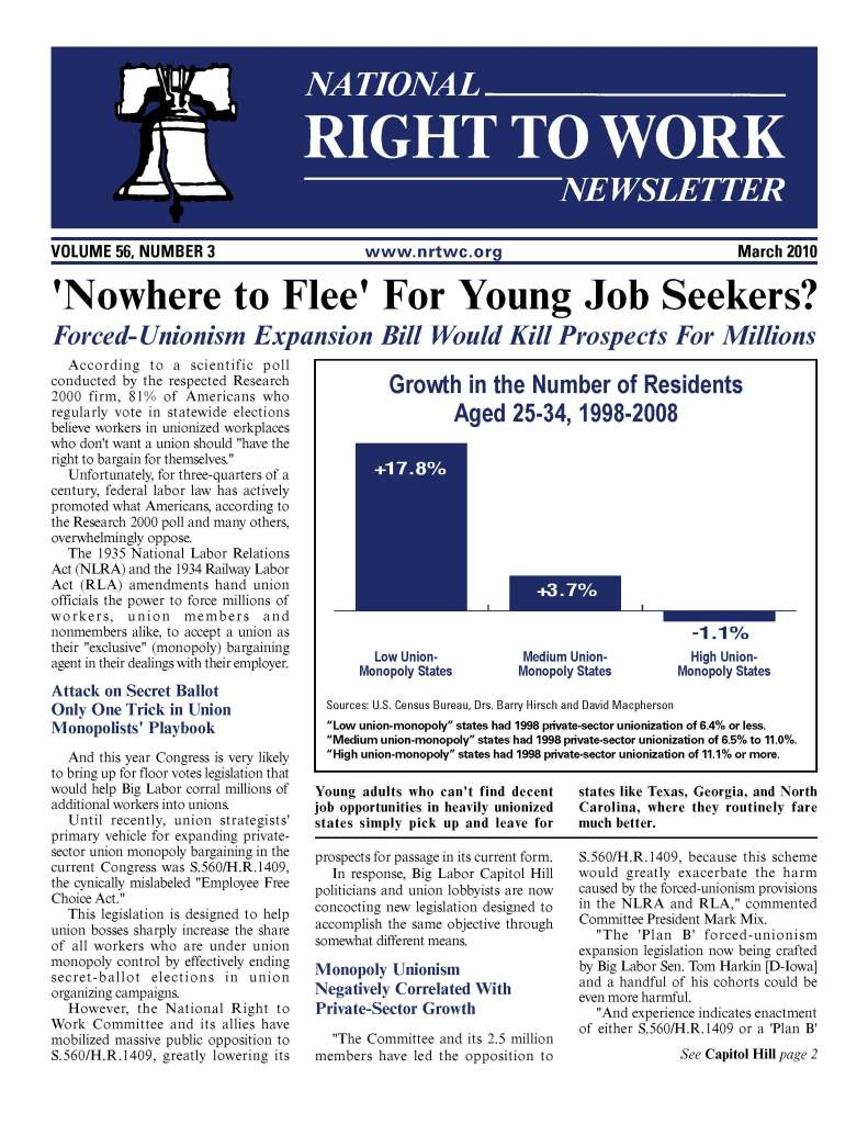 March 2010 National Right to Work Newsletter Summary