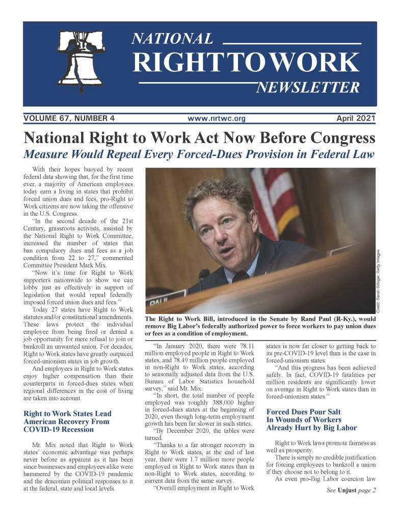 April 2021 National Right to Work Newsletter