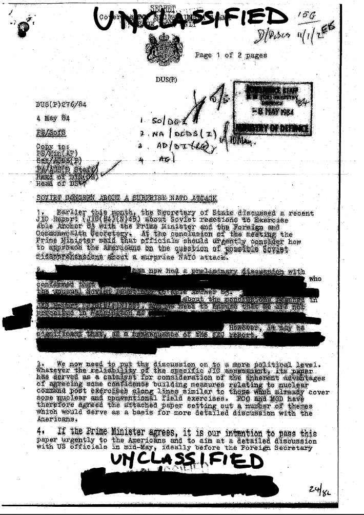 First Page of Paramount Able Archer 83 Report Declassified