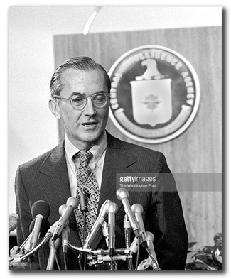 CIA Director William Colby at a press conference at CIA headquarters, September 12, 1975. (Source: Larry Morris, photographer; Washington Post / Getty Images)