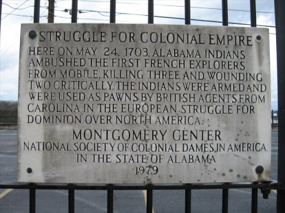1979: A plaque to commemorate the Indian ambush of French explorers on May 24, 1703, Montgomery, Alabama.