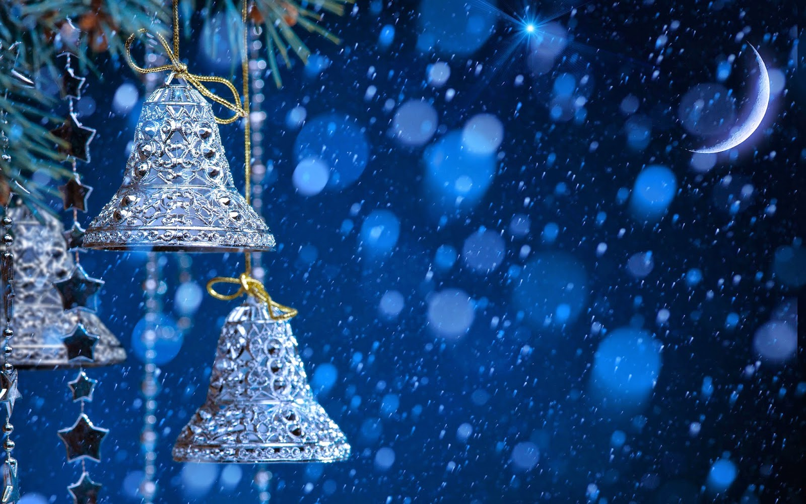 Christmas Background Hd.Merry Christmas Jingle Bells Silver With Snow Fall Blue
