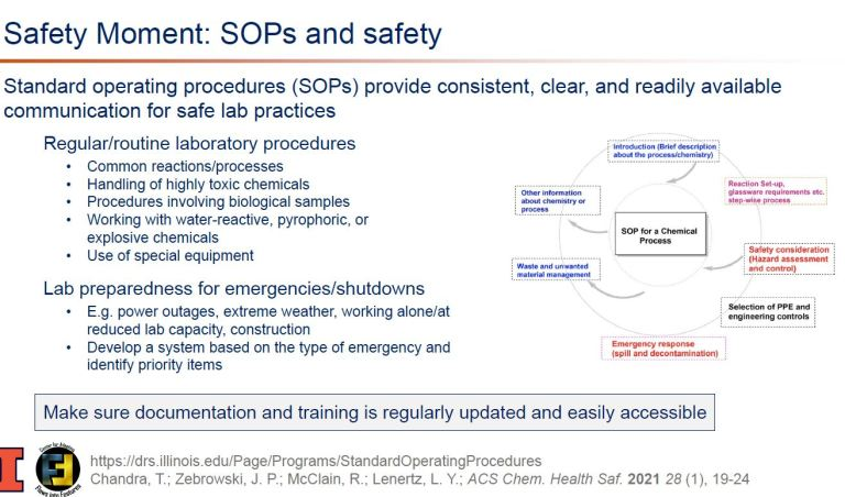 Safety: SOPs and safety