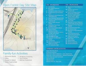 Site Map & List of exhibits for Open Forest Day
