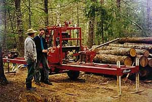 Portable Bandsaw in use at Windhorse Farm, 1998