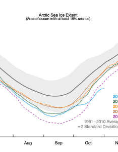 The graph above shows arctic sea ice extent as of november also sluggish growth in news and analysis rh nsidc