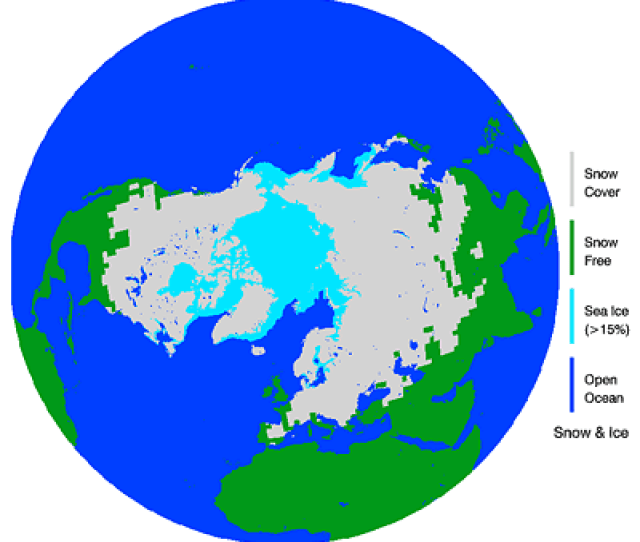 Northern Hemisphere Weekly Snow Cover And Ice Extent February