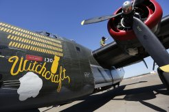 Flight engineer Stephen Arnold, of Seattle, checks the fuel level on the world's only flying B-24J Liberator after landing at Raleigh-Durham International Airport during the Wings of Freedom Tour, October 19, 2017. Hosted by the Collings Foundation, Wings of Freedom visits more than 100 cities a year to show off working pieces of American war history as well as to educate people about the veterans of WWII. The tour will be in Burlington, NC until 12 pm on Oct. 25 and then move to Statesville, NC through Oct. 27. (Eamon Queeney / North State Journal)
