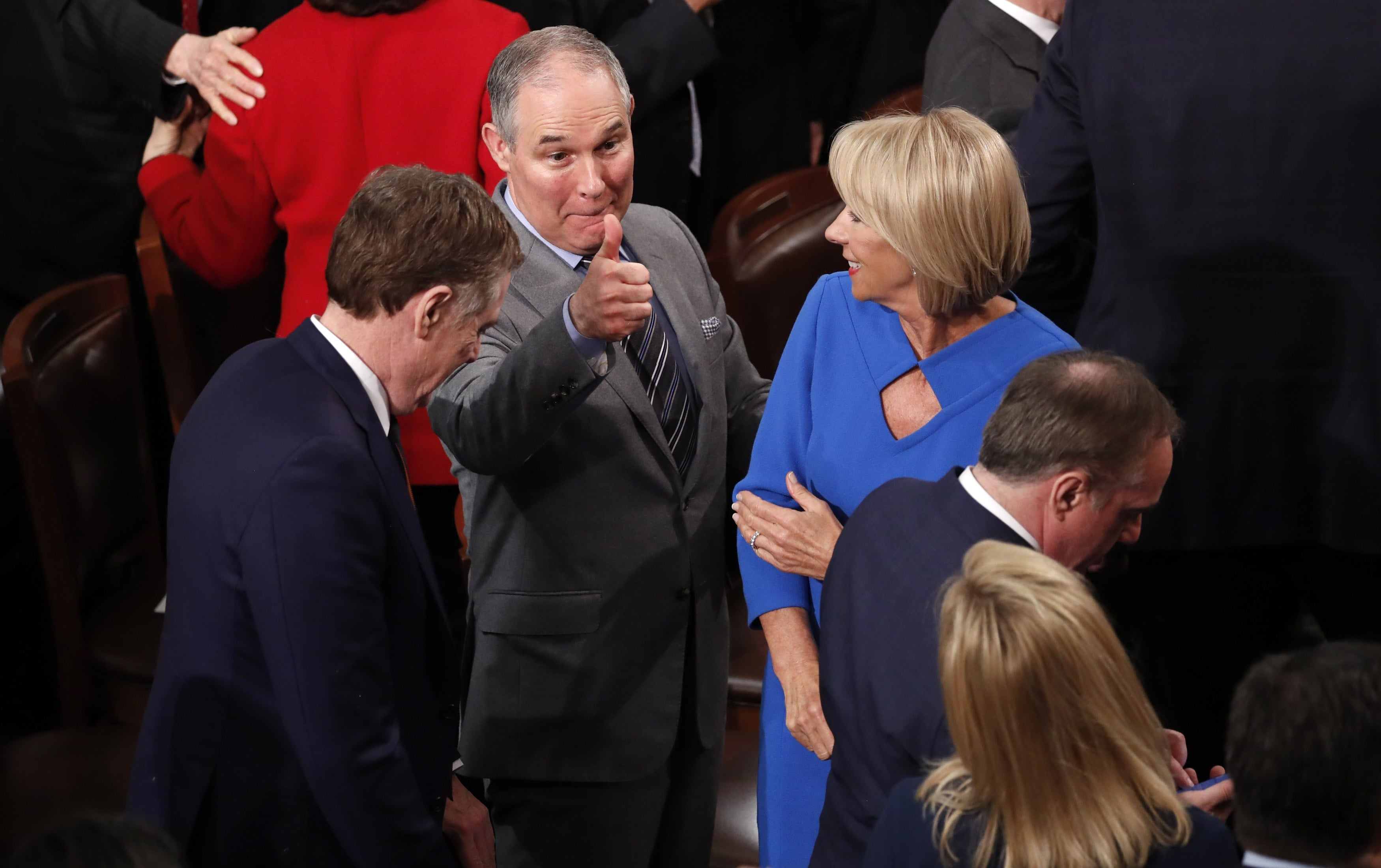 EPA chief Pruitt gives thumbs up after U.S. President Trump delivered his State of the Union address in Washington