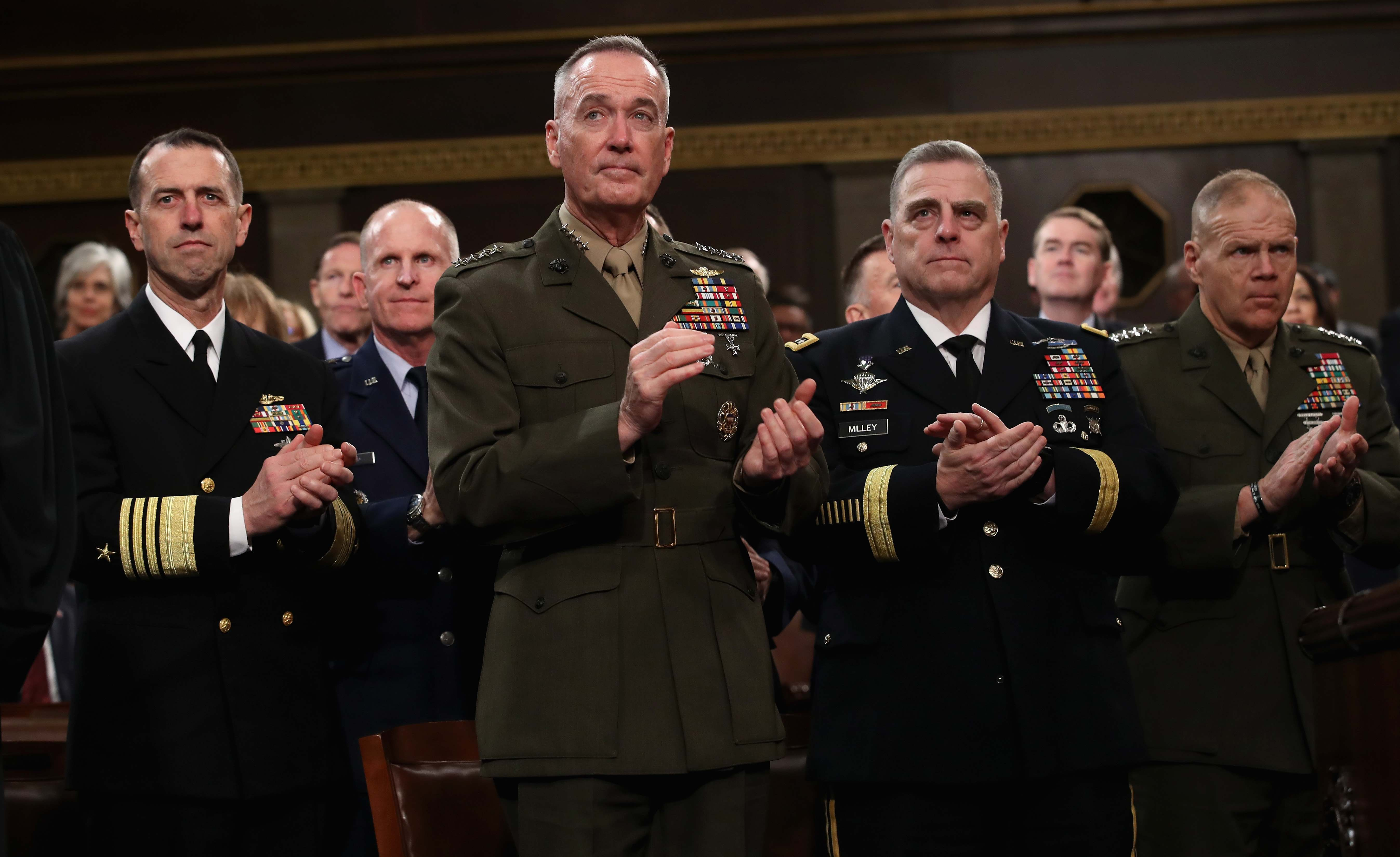 Military chiefs applaud as U.S. President Donald Trump delivers his first State of the Union address in Washington