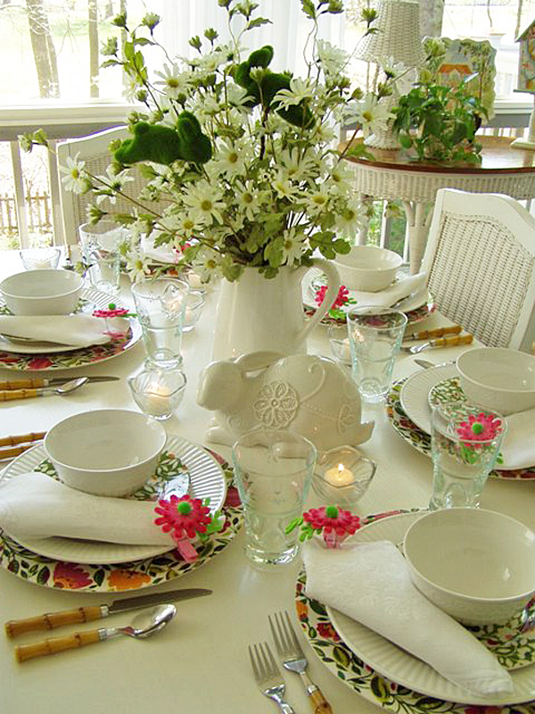 Easter Spring Tablescape with Floral Chargers