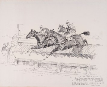 "1932 drawing by Paul Brown, from ""Inaugural Llangollen Race Meeting"" (c) Paul Brown"