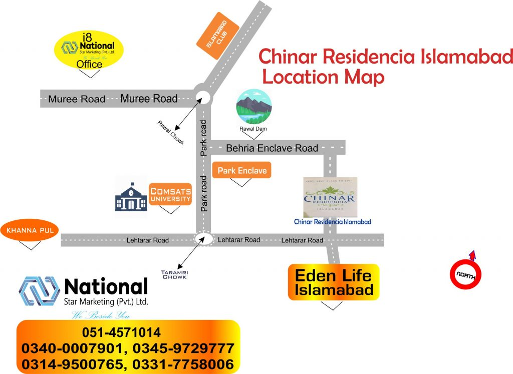 Chinar Residencia Islamabad Location Map