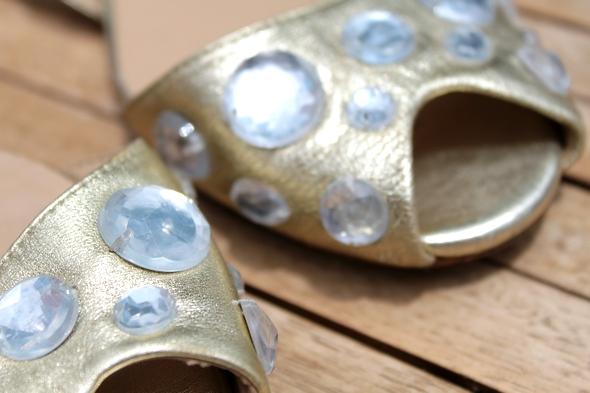 Jeffrey Campbell strass gold sandals