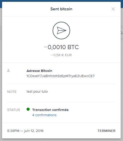 Coinbase - confirmation d'une transaction