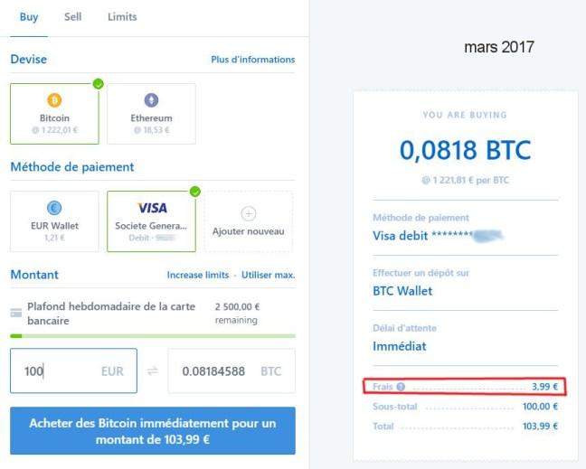 Coinbase - achat BTC via visa - 3,99 pct frais