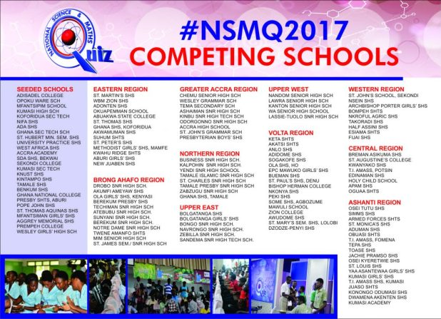 List of competing schools in NSMQ2017