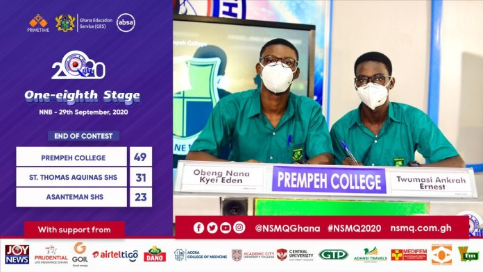 2020NSMQ: Prempeh College enters Quarterfinal after exiting St. Thomas Aquinas SHS and Asanteman SHS 3