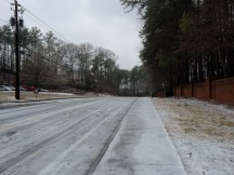 Road conditions on Spalding Drive adjacent to Sandy Springs Fire Station #1